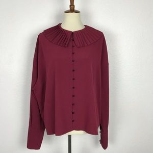 Topshop Pleated Collar Button Down Top